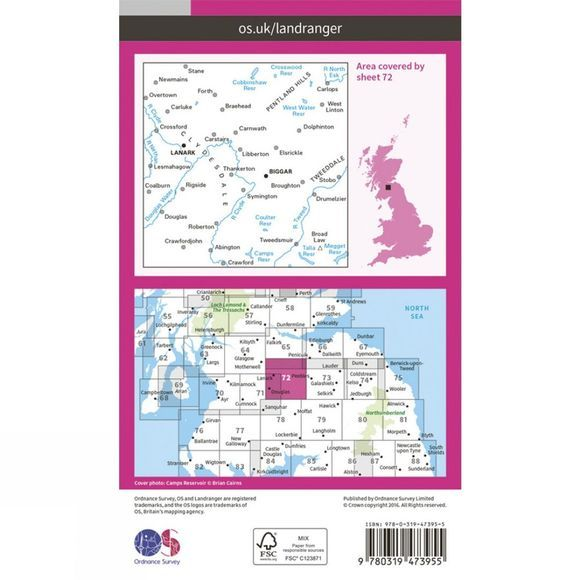 Ordnance Survey Active Landranger Map 72 Upper Clyde Valley V16
