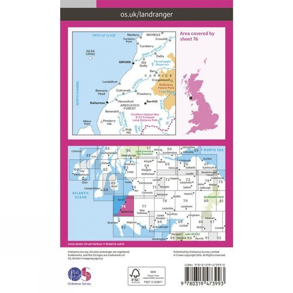 Active Landranger Map 76 Girvan