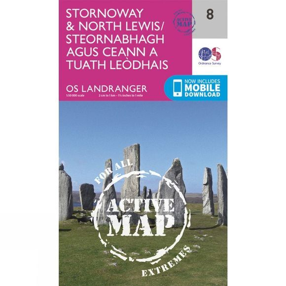 Ordnance Survey Active Landranger Map 08 Stornoway and North Lewis V16