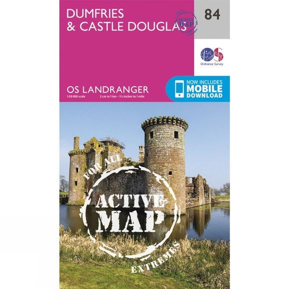 Ordnance Survey Active Landranger Map 84 Dumfries and Castle Douglas V16