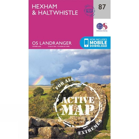 Ordnance Survey Active Landranger Map 87 Hexham and Haltwhistle V16