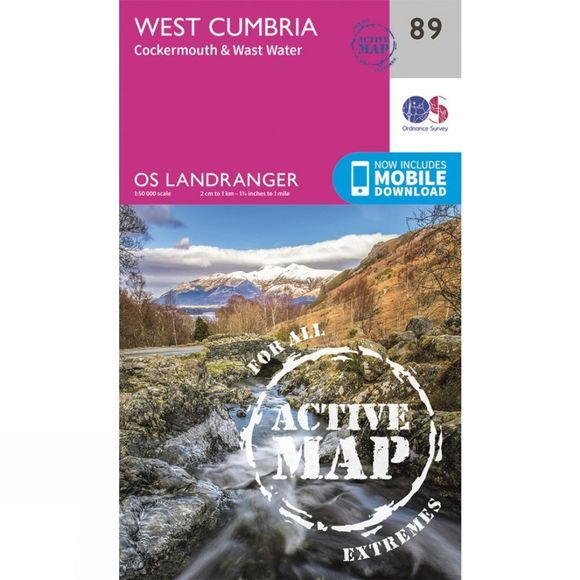 Ordnance Survey Active Landranger Map 89 West Cumbria V16