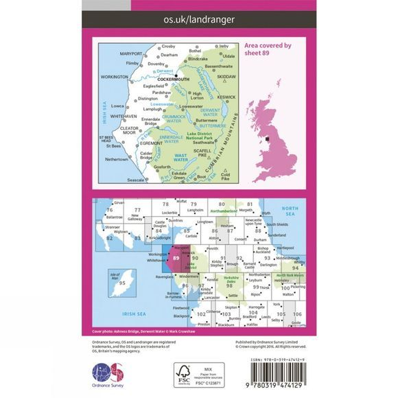 Active Landranger Map 89 West Cumbria