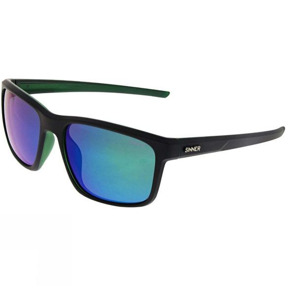 Sinner Louis Sunglasses Matt Crystal Dark Green/Polarised Smoke Green Mirror