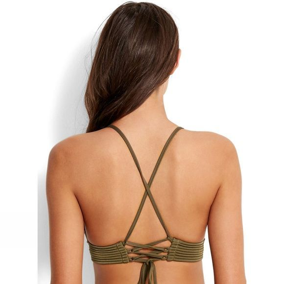 Seafolly Womens Quilted Fixed Tri Bikini Top DARK OLIVE DARK OLIVE