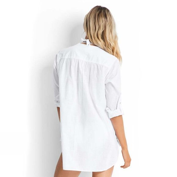 Seafolly Womens Boyfriend Beach Shirt White