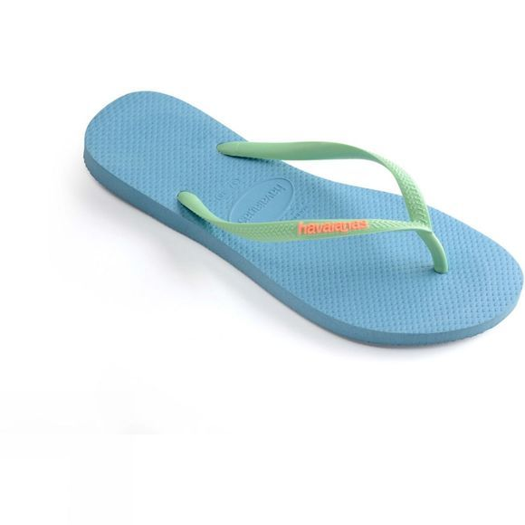 Havaianas Womens Slim Logo Flip Flop Blue splash