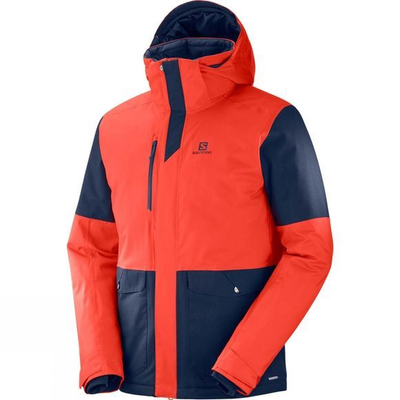 Salomon Mens Stormtrack Jacket Fiery Red/Night Sky