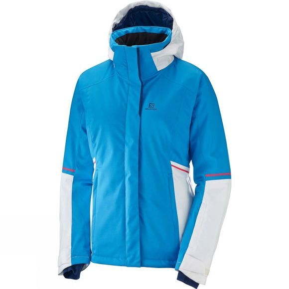 Salomon Womens Stormseason Jacket Hawaiian Surf/White