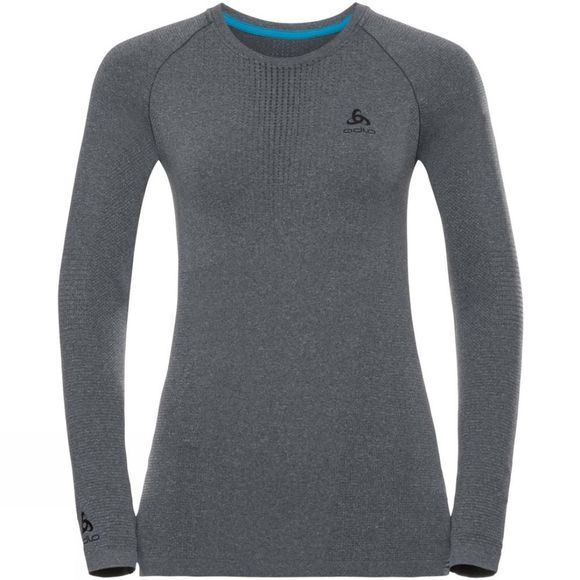 Odlo Womens Performance Warm LS Crew Grey Melange/ Black