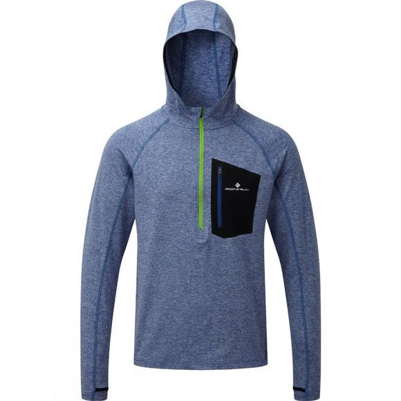 Ronhill Mens Advance Victory Hoodie  Cobalt Marl/Gecko