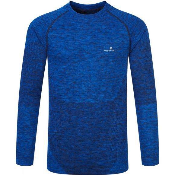 Ronhill Mens Space-Dye Long Sleeve T-Shirt Cobalt/Black Marl