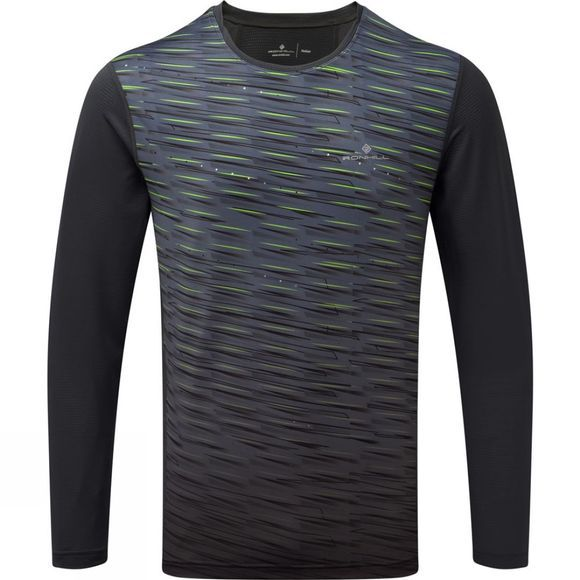 Ronhill Mens Stride Long Sleeve Tee Charcoal/Fluo Yellow