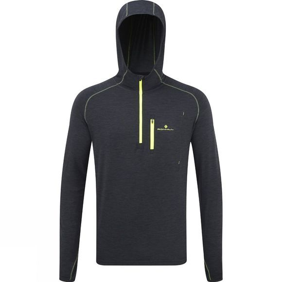 Ronhill Men's Ronhill Momentum Workout Hoodie CharcoalMarl/FlYellow
