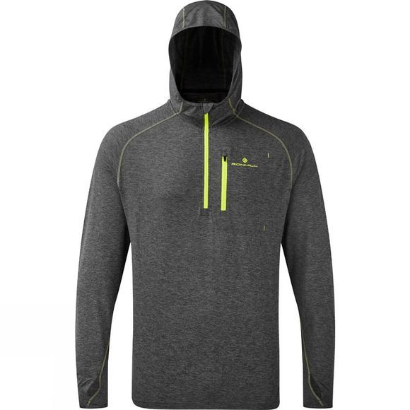 Ronhill Mens Ronhill Momentum Workout Hoodie Grey Marl/Fluo Yellow