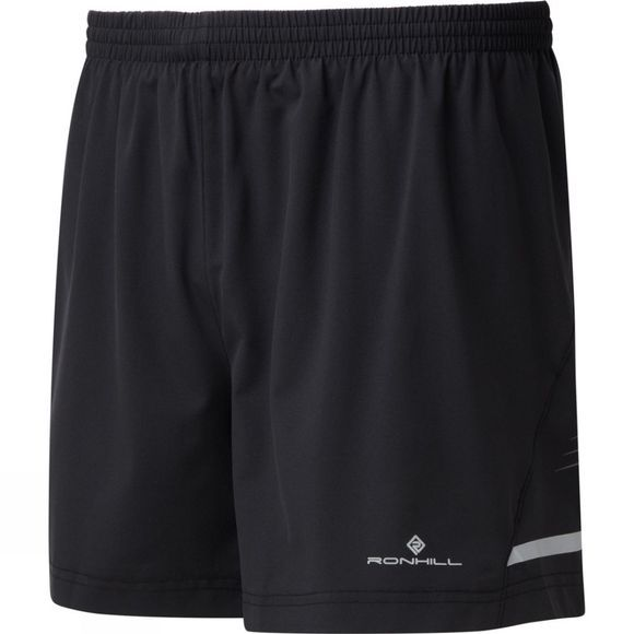 Ronhill Mens Stride 5in Shorts Black/Charcoal/Fluo Yellow