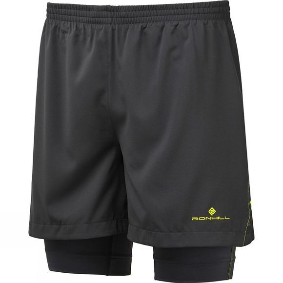 Ronhill Mens Stride Twin 5in Short  Charcoal/Fluo Yellow