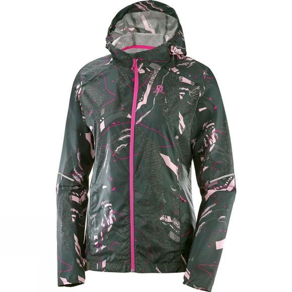 Salomon Womens Agile Wind Print Hoodie Urban Chic/Darkest Spruce/Pink Mist