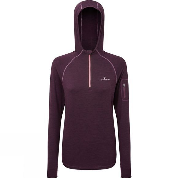 Ronhill Womens Momentum Workout Hoodie  Aubergine/Blossom