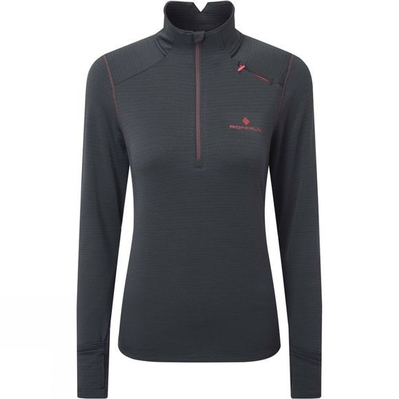 Ronhill Women's Stride Matrix 1/2 Zip Charcoal/Hot Pink