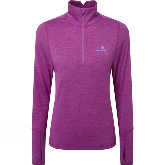 Ronhill Womens Stride Thermal Half Zip Tee Thistle Marl/Aquamint