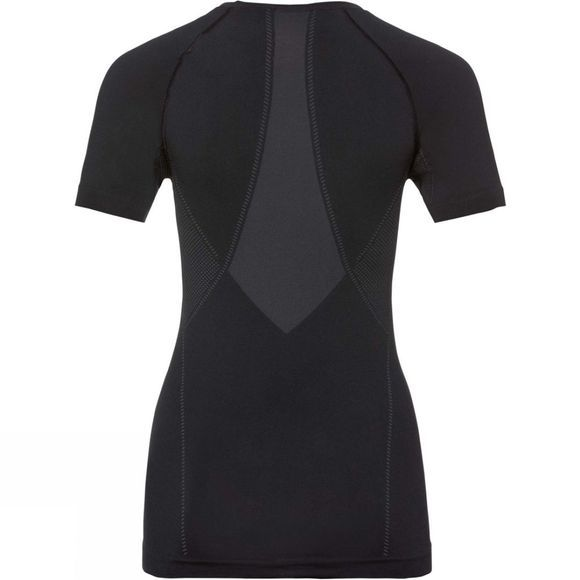 Odlo Womens Performance Light SUW Crew Neck Short Sleeve Top Black/Odlo Graphite Grey