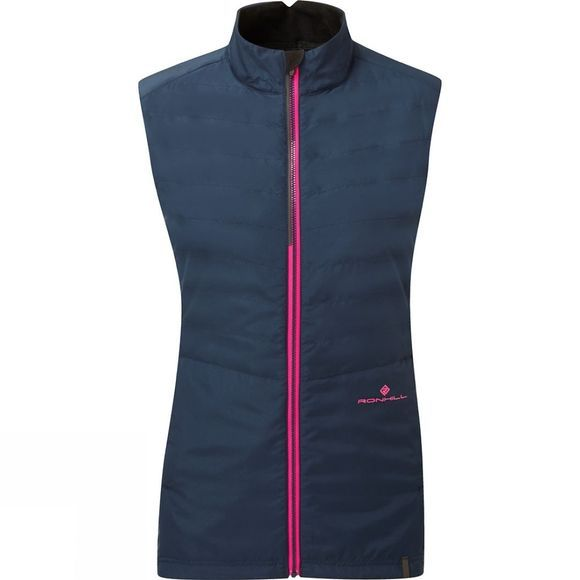 Ronhill Womens Stride Winter Gilet Deep Navy/Azalea