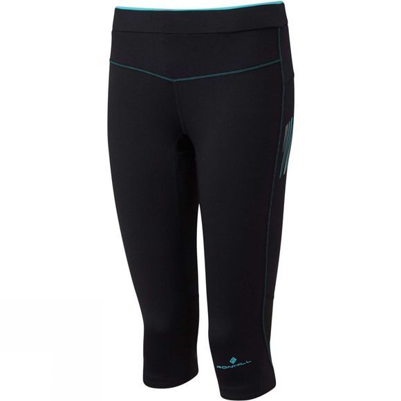 Ronhill Womens Stride Stretch Capri Black/Peacock