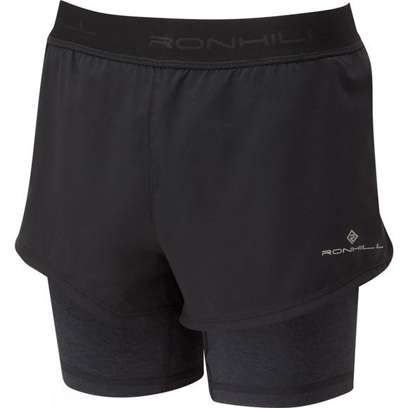 Ronhill Womens Stride Twin Short Black/Charcoaloal Marl