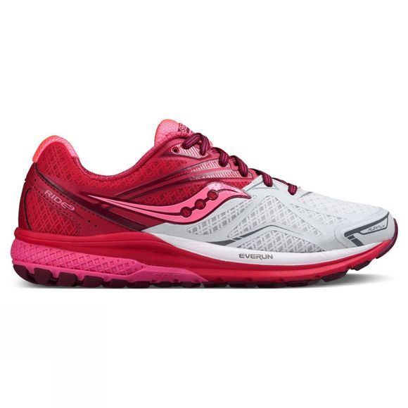 Saucony Womens Ride 9 Shoe White/Berry/Pink