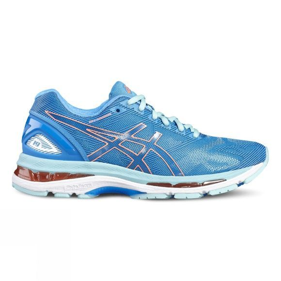 Asics Womens GEL-NIMBUS 19 Shoe DIVA BLUE/FLASH CORAL/AQUA SPLASH
