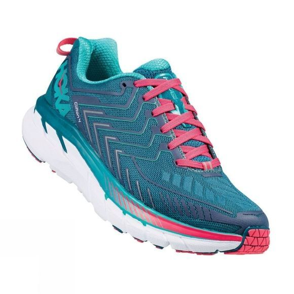Hoka One One Womens Clifton 4 Wide Blue Coral/Ceramic
