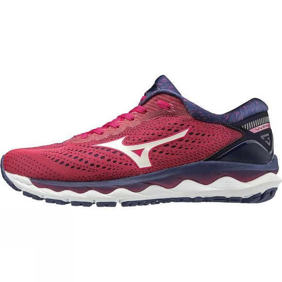 Mizuno Women's Wave Sky 3 Bright Rose / White / Aurora Pink
