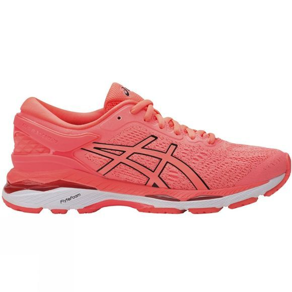 Asics Womens Gel Kayano 24 Shoe Flash Coral/Black/White