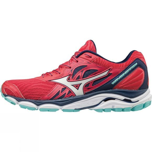 Mizuno Womens Wave Inspire 14 Shoe Teaberry / White / Blue Depths