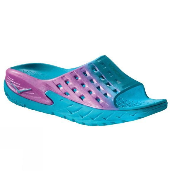 Hoka One One Womens Ora Recovery Slide Sandal Blue Atoll/Pink