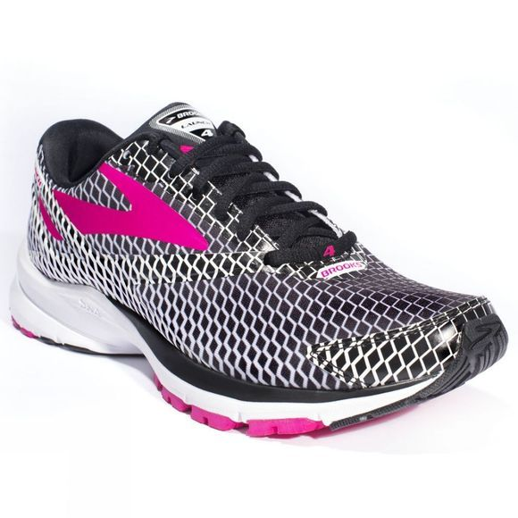 Brooks Womens Launch 4 Shoe Black/Purple Patterned