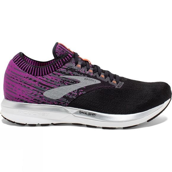 Brooks Womens Ricochet  Black/Purple/Coral