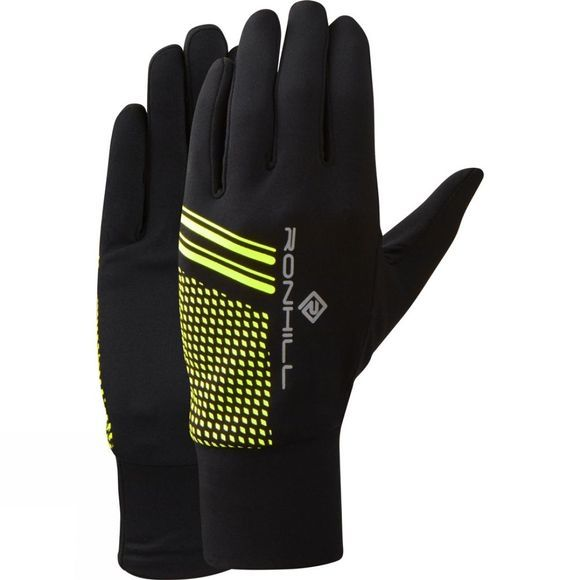 Ronhill Mens Beanie and Glove Set Black/Fluo Yellow