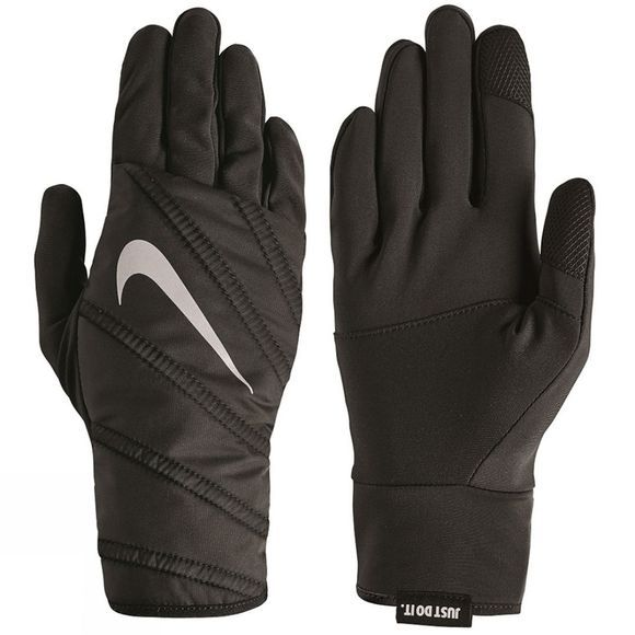 Nike Womens Quilted Run Gloves Black/Silver