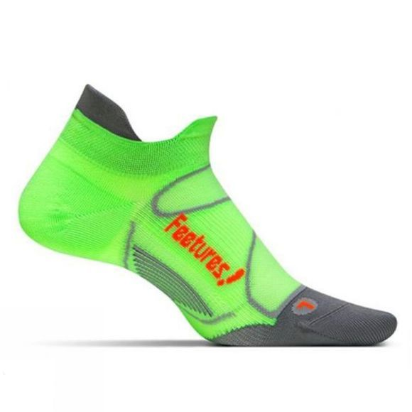 Feetures Elite Ultra Light No Show Tab Citron/Electric Orange