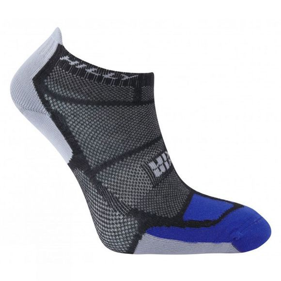 Hilly Mens Twin Skin Socklet Black / Electric Blue / Grey