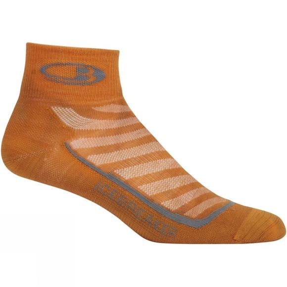 Icebreaker Mens Run+ Ultra Light Mini Sock Bonfire/Graphite