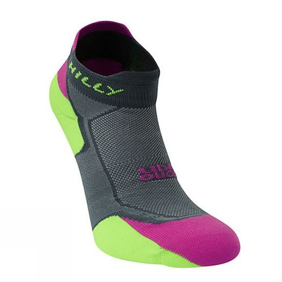 Hilly Womens Lite Cushion Socklet Grey / Purple / Fluo Green