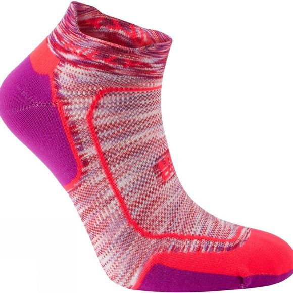 Hilly Womens Lite Cushion Socklet Hot Coral/Grapejuice