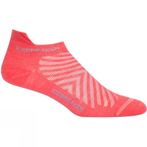 Icebreaker Womens Run+ Ultra Light Micro Sock Poppy Red/Waterfall