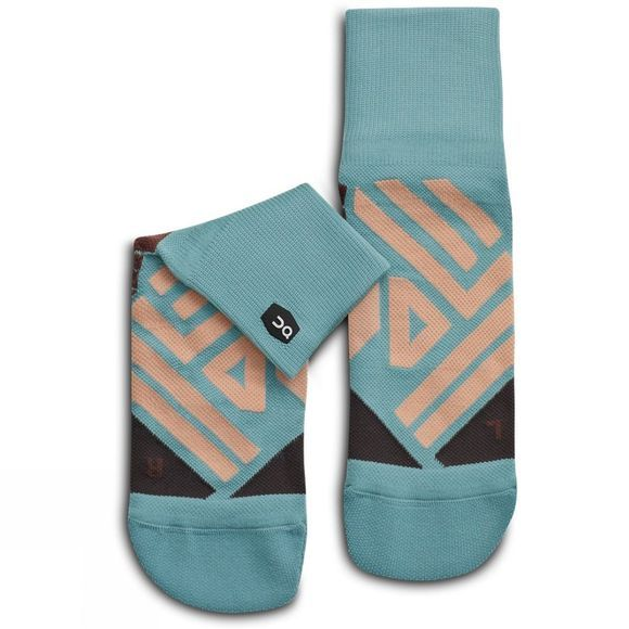 On Women's Mid Sock Sea/Rosebrown