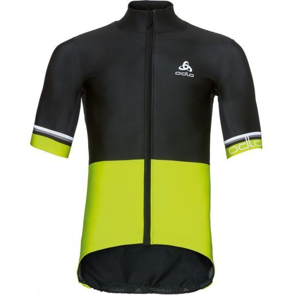 Odlo Mens Vlaanderen Short Sleeve Full Zip Jacket Black/Yellow