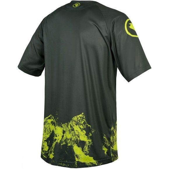 Endura Mens Singletrack Mountains Print Short Sleeve Top Khaki