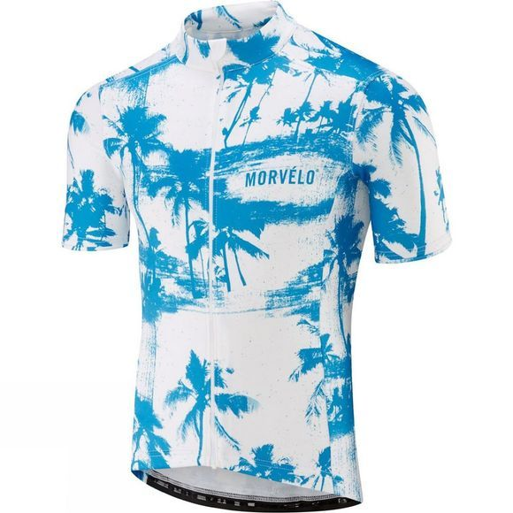 Morvelo Mens Palmer Merino Short Sleeve Jersey Blue and White